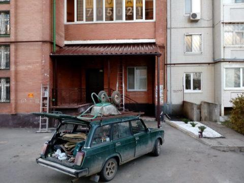 Усиленный навес из профнастила для офиса ул. Робеспьера