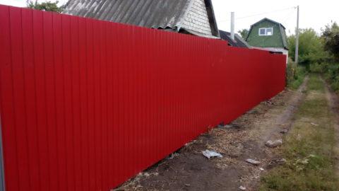 Забор из профнастила пос. Октябрьский СНТ, 142 пог.метр